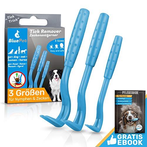 Bluepet® 3 Größen Set Zeckenhaken Zeckenentferner für Hund, Katze & Pferd | Zeckenhebel zum Zeckenschutz | Ergänzung zu Zeckenzange, Zeckenhalsband,...
