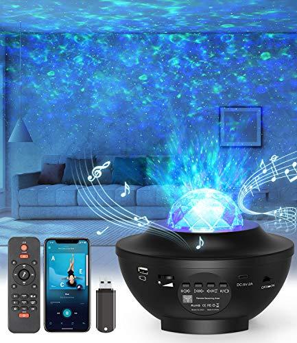 LED-Sternenhimmel Projektor,Rotierendes WasserwellenproJektorlicht,Ferngesteuertes Nachtlicht,Farbwechselnder Musikplayer mit Bluetooth,Geeignet für Kinder /...