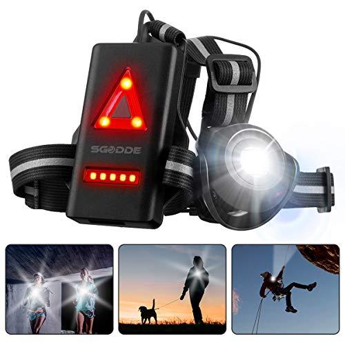 SGODDE Lauflicht,wiederaufladbare USB LED Lauflampe,Brust Lampe wasserdicht Outdoor Sport,90°Einstellbarer Abstrahlwinkel,500 Lumen,360°reflektierendes...