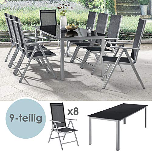 ArtLife aluminum garden furniture Milano | Garden furniture set with table and 8 chairs Silver-gray with black synthetic fiber Alu seating group balcony furniture