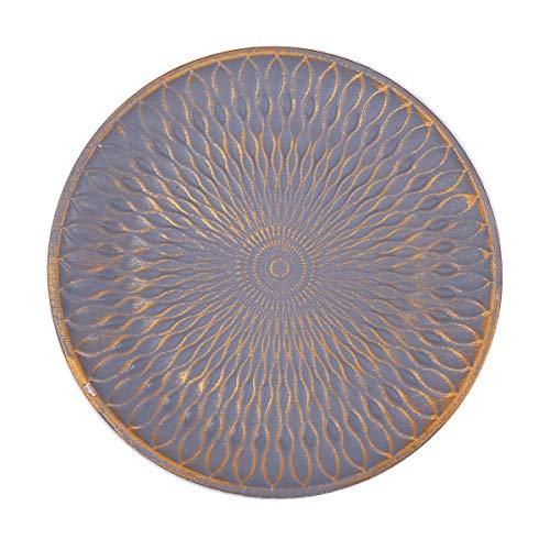 Flanacom Deko Tablett Dekoschale aus Holz - Design Holzschale Rund mit Verzierungen - Moderne Tischdekoration für die Wohnung - Tischdeko für Wohnzimmer oder Flur...
