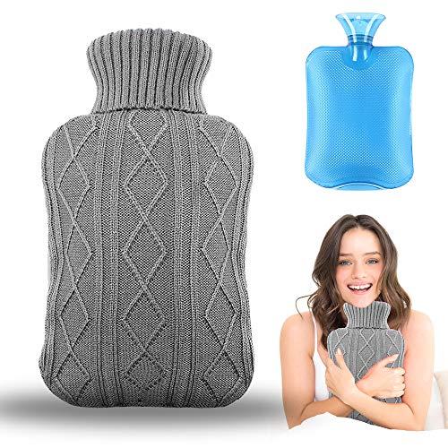 Wärmflasche mit Bezug, Amokee Wärmeflaschen mit Strickbezug Rollkragen Wärmekissen Schnelle Schmerzlinderung und Komfort, waschbare, Sicher und langlebig Und Frei...