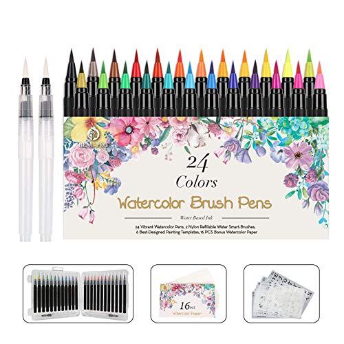 WOTEK Pinselstifte Set Brush Pen 48er,Aquarellstifte 24 Fabren+ 2 Einem Befüllbaren Wassertankpinsel,handlettering stifte mit flexiblen Nylonspitzen für Malerei...