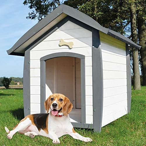 zooprinz wetterfeste Hundehütte Bella - aus massivem Holz - perfekt für draußen - mit umweltfreundlicher Farbe gestrichen in modernen Farben - 3 Größen zur Wahl