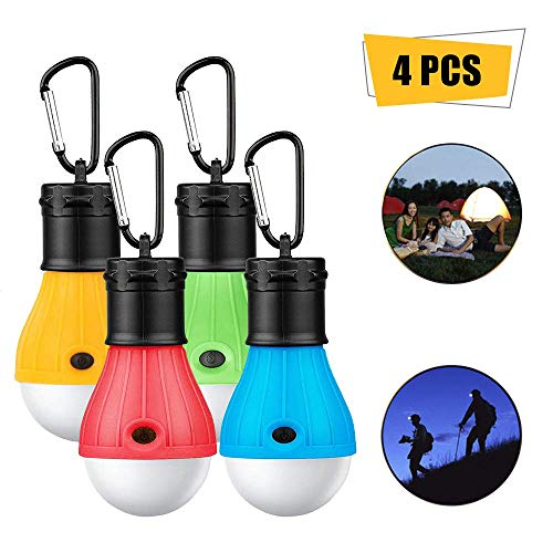 ASANMU Camping Lamps LED, 4 Pieces LED Camping Lamp Camping Light with Carabiner Portable Lantern Tent Illuminant Tent Lamp Bulb Set for Camping, ...