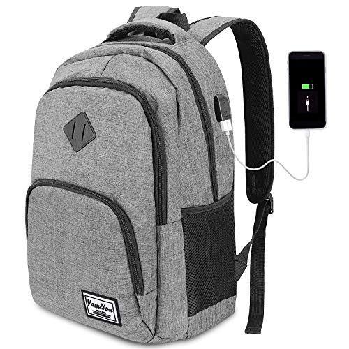 YAMTION laptop backpack business backpack for 15.6 inch laptop school backpack with USB charging port for work hiking travel camping, for men, Oxford, 20-35L