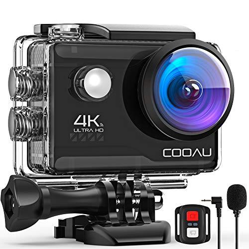 COOAU Action Cam HD 4K 20MP WiFi mit externem Mikrofon Unterwasserkamera 40M mit Fernbedienung EIS Stabilisierung Kamera Wasserdicht 170° Weitwinkel Time Lapse / 2...