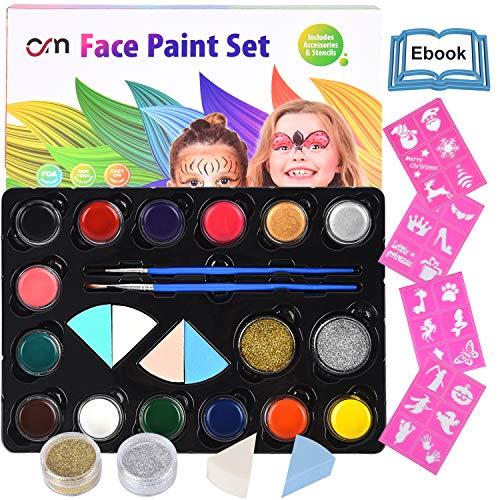 HEYSAMO Kinderschminke Set Face Paint - Hochwertiges Kinder Schminkset Ideal für Partys Mädchen, Schablonen, Gesichtsfarben, Halloween & Fasching,...