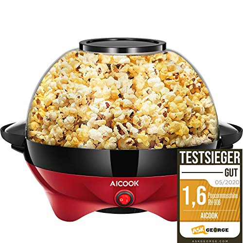 Aicook Popcornmaschine für Zuhause, Popcorn Maker Machine mit Zucker & Öl, Abnehmbare Heizfläche, Antihaftbeschichtung, 5L Popcorn Popper, Großer Deckel als...
