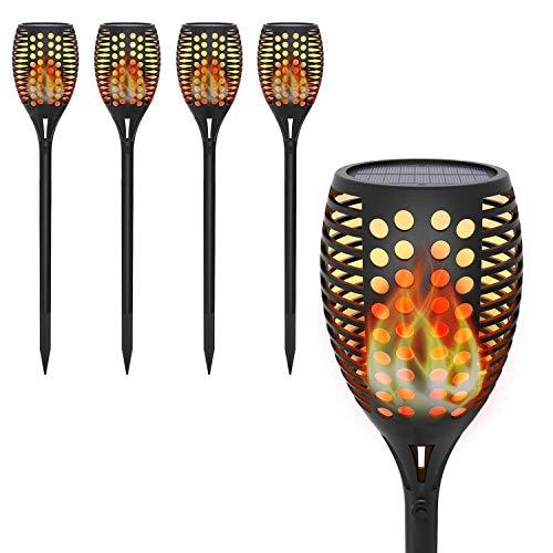 Solar Gartenfackel mit Realistischer Flammeneffekt,OxyLED 4 Stück 96 LED Solar Flammenlicht für Außen,IP65 Wasserdicht Solar Gartenleuchten für...