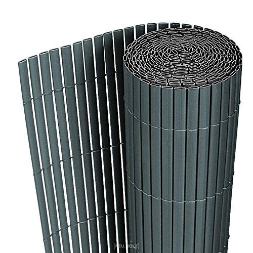 [neu.haus] PVC Sichtschutzmatte 90x300cm grau Sichtschutz Windschutz Gartenzaun Balkon Umspannung Zaun