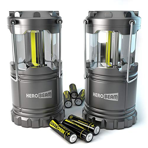 2 x HeroBeam® LED lantern - COB technology with 300 LUMEN! - BATTERIES INCLUDED - Foldable camping lamp - Magnetic pad - Great for camping, in ...