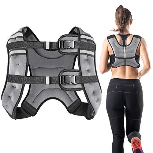 Vailge Gewichtsweste, 2kg/5kg/10kg Laufweste, Training mit Gewichten Trainingsweste für Fitness, Krafttraining, Laufen, Cross Training, Muskelaufbau(Grau,5kg)