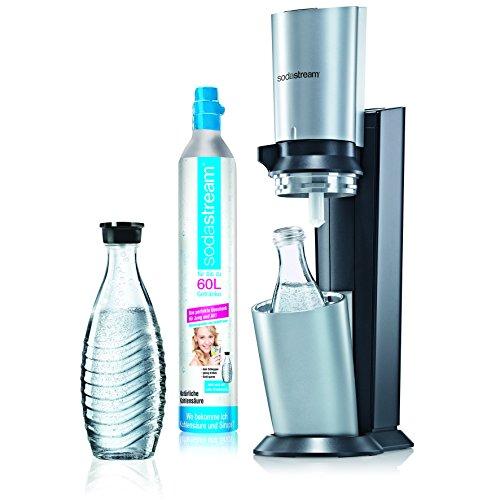 SodaStream Wassersprudler-Set Crystal - mit dem Glaskaraffen Sprudler ohne schleppen aus Leitungswasser prickelndes Sprudelwasser machen (1x CO2-Zylinder 60L und 2x...