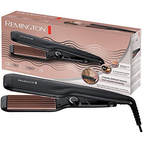 Remington Kreppeisen Ceramic Crimp 220 S3580, Zick-Zack Wellen und Volumen, 37mm Stylingplatten mit Rillen, 4-facher Schutz, hochwertige, antistatische...