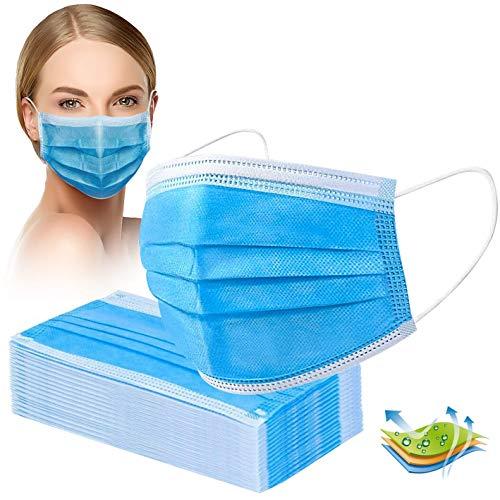 Mund und Nasenschutz 50 Stück, 3-lagige Mundschuz Einweg, Masken Mundschutz blau