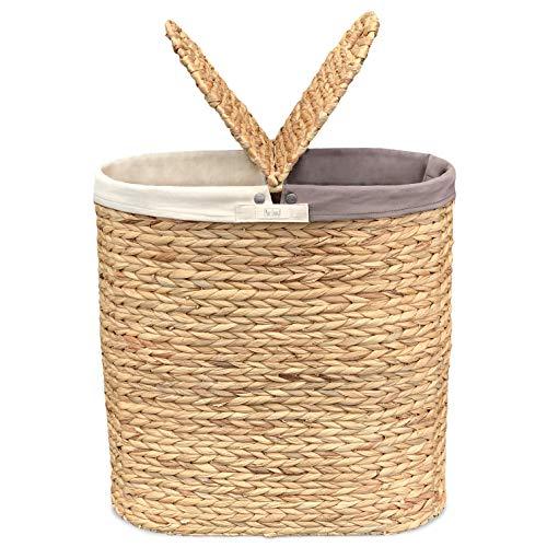 Wäschekorb mit Deckel aus Wasserhyazinthe - Handgeflochten, Natürlich, Plastikfrei, Hochwertig - Wäschetrenner mit 2 Fächern und rutschfesten Stoffbeuteln - Pure...