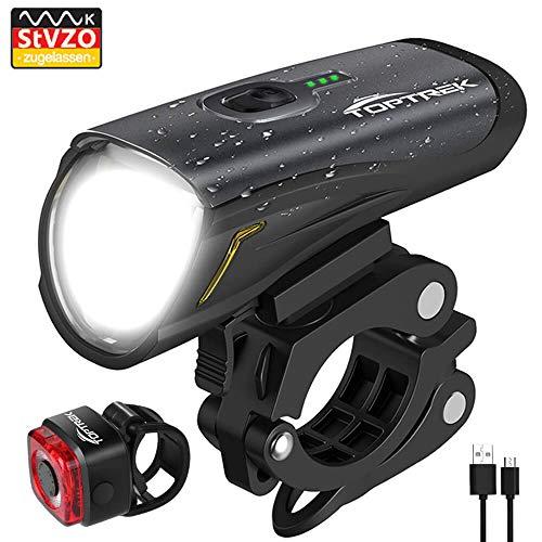 Toptrek Fahrradlicht StVZO Zugelassen, LED Fahrradbeleuchtung Set akku USB Wiederaufladbare OSRAM LED-Licht, umschaltbar zwischen 50/30 Lux, Frontlicht & Rücklicht...