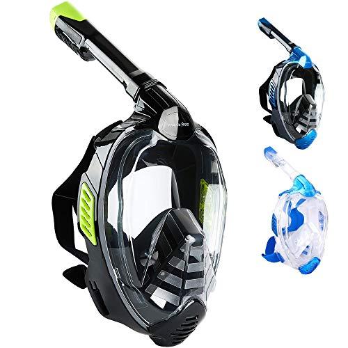 Khroom CO2 sichere Schnorchelmaske Vollmaske 2019 | bekannt aus YouTube | Seaview X - Tauchermaske für Erwachsene und Kinder. (Schwarz, L/XL)