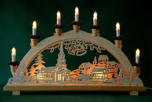 Schwibbogen Lichterbogen'Dorf und Glocken' 10flammig innenbeleuchtet Weihnachten Advent Geschenk Dekoration (10767)