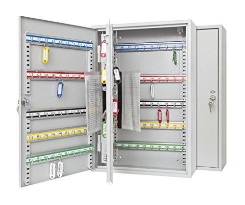 Wedo 10272037X Schlüsselschrank für 200 Haken, pulverbeschichtetes Stahlblech 38 x 14 x 55 cm, Sicherheitsschloss inklusive 2 Schlüssel, Hakenleiste individuell...