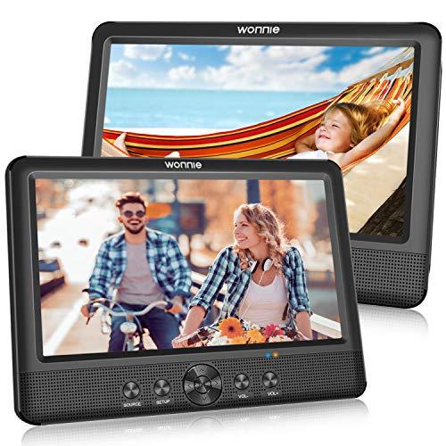 WONNIE 2 10.5 Zoll Tragbarer DVD Player Auto Zwei Monitore Player mit Leistungsstarke Stereo Lautsprechern, 1024 * 600 HD Kopfstützenhalterung Dual Bildschirm,...