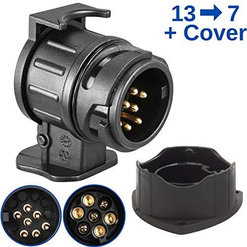 13 auf 7-polig Adapter Stecker, inklusive 13 PIN Parking Cover, nach ISO 11446 und ISO 1724, für 12 V Hänger Systeme, Steckverbindung Anhänger zu Auto, für...