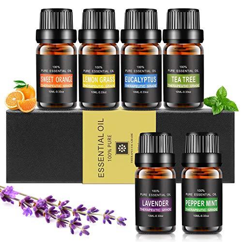 Essential oils set, Aiemok 6 x 10ml aromatherapy fragrance oil set, 100% organic natural aroma oil for, 6 different aromas - lavender, peppermint, lemongrass, ...