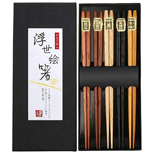 Rpanle Japanische EssstäBchen 5 Pairs EssstäBchen Holz Wiederverwendbare Natürliche Japanische Holzstäbchen Waschbar Chopsticks Essstäbchenauflage aus Holz