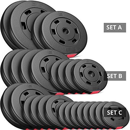 Hop-Sport 30kg Hantelscheiben Sets 30 mm Gewichte Auswahl: 2x5kg+2x10kg / 4x2,5kg+4x5kg / 8x1,25kg+4x2,5+2x5kg (C: 8x1,25kg + 4x2,5 + 2x5kg)