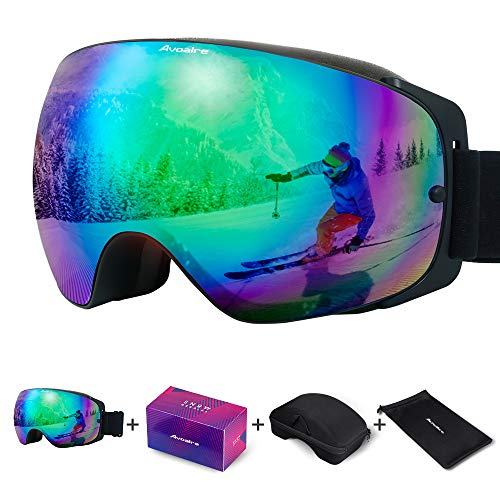 Avoalre ski goggles snowboard goggles for women and men - frameless ski snowboard goggles for those who wear glasses, 100% OTG Anti-Fog 400 UV protection ...