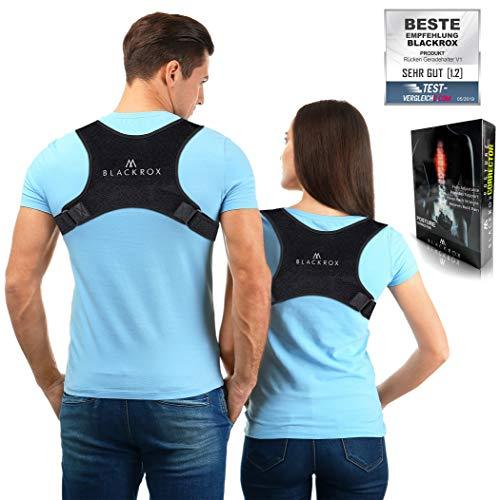 Blackrox Rückenstabilisator Vergleichssieger Haltungskorrektur für Schulter & Rücken Geradehalter Verstellbare Größe Damen Herren, Schwarz, one size