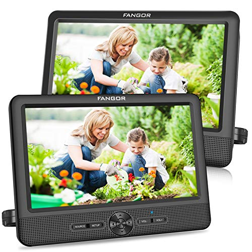 FANGOR 9,5 Zoll Auto DVD Player tragbare 2 Monitore Kopfstützen Bildschirme Auto Fernsehen mit 5 StundenAkku, letztem Speicher und USB/SD Kartensteckplatz (1 Host +...