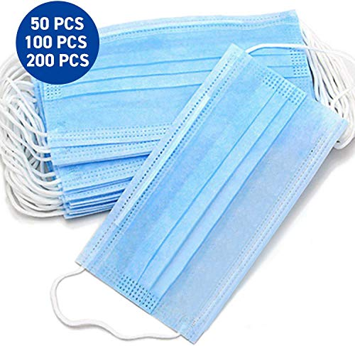 50 Stck Einweg OP-Maske Gesichtsmaske 3-lagig Mundschutz Staubschutz Infektionsschutz Schutzmaske Atemschutzmaske mit Ohrschlaufen schtzt vor Verschmutzungen (Blau)...