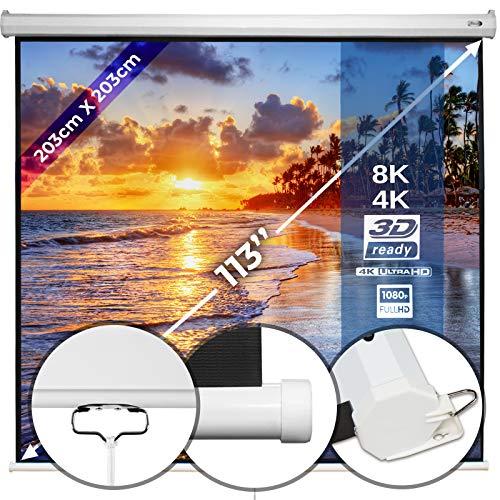 Beamerleinwand 203x203cm - in verschiedenen Größen mit und ohne Stativ, einfache Montage, Format 1:1, 4:3, 16:9, HD 4K 3D - Rolloleinwand, Projektionsleinwand,...