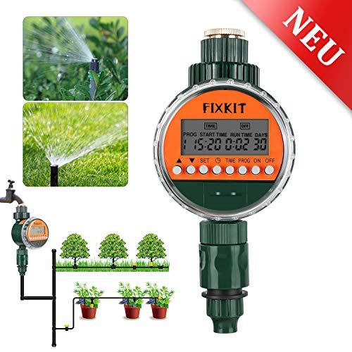 FIXKIT New watering computer, digital water timer, watering clock IP68, waterproof LCD screen, watering programs up to 30 days, ideal for ...