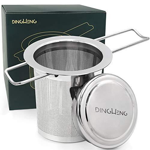 DINGHENG Teesieb Teefilter und Deckel/Abtropfschale,Rostfreies 304 Edelstahl Tee-Sieb für losen Tee,Premium Sieb,Faltbare Griffgestaltung Passend für die Meisten...