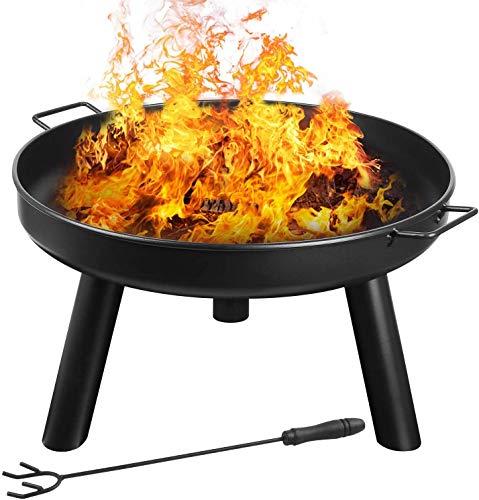 femor Feuerschale Ø60cm mit Griffen, Abnehmbar Metall Feuerkorb mit Feuergabel, Terrasse Garten Multifunktional Fire Pit für Heizung/BBQ mit Kleinem Gerät zu...