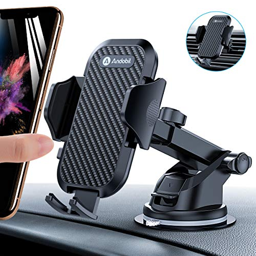 andobil mobile phone holder for car mobile phone holder ventilation & suction cup holder 3 in 1 universal car mobile phone holder smartphone holder for iPhone SE 2020/11 / Samsung ...