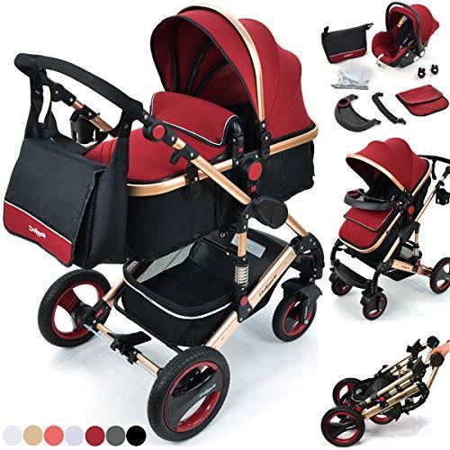 Daliya Bambimo 3 in 1 Kinderwagen - Kombikinderwagen Riesenset 14-Teilig incl. Babywanne & Buggy & Auto-Babyschale - Alu-Rahmen/Voll-Gummireifen -...