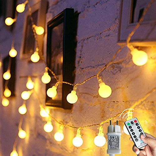[120 LED] Lichterkette Kugel, 12M 8 Modi und Merk Funktion,lichterketten außen/innen mit Stecker, ideale party deko, kinderzimmer, balkon,weihnachtsbeleuchtung usw....