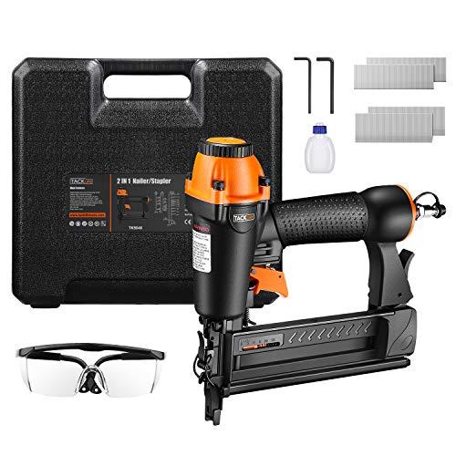 TACKLIFE 2-IN-1 Druckluftnagler, 18GA Drucklufttacker mit Nägeln und Klammern (je 200 Stück), für Nägel 15-50 mm und Klammern 16-40 mm, 100 Kapazität,...
