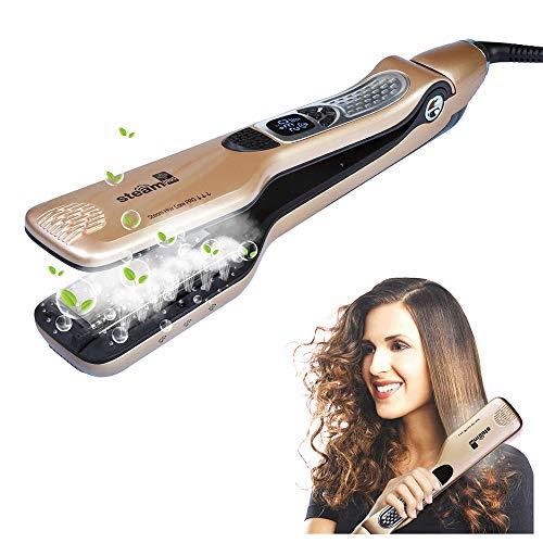 iGutech Dampf Haarglätter, Glätteisen mit Dampffunktion und extrabreiter Keramikheizplatte