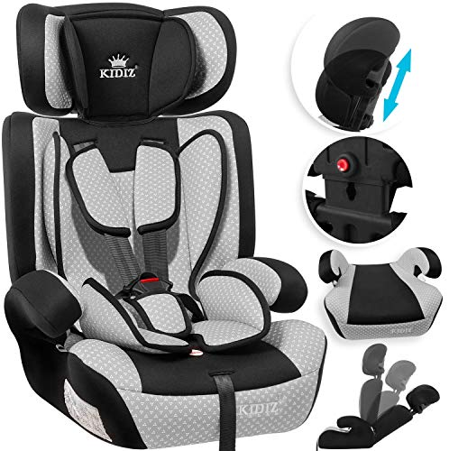 KIDIZ Autokindersitz Kindersitz Kinderautositz | Autositz Sitzschale | 9 kg - 36 kg 1-12 Jahre | Gruppe 1/2 / 3 | universal | zugelassen nach ECE R44/04 | 6...