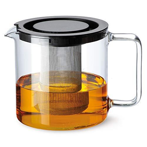 Bohemia Cristal 093 006 005 Simax Teekanne Zylindrisch 1, 3 L aus hitzebeständigem Borosilikatglas mit Kunststoffdeckel und Metallsieb