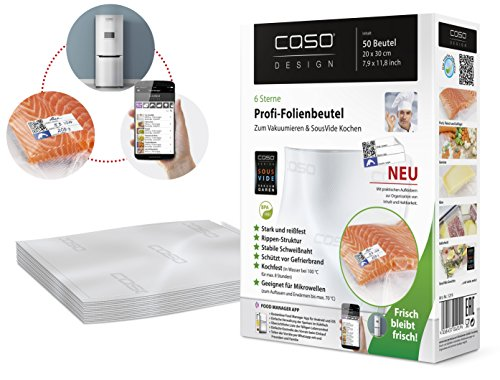 CASO Profi- Folienbeutel 20x30 cm / 50 Beutel, für alle Balken Vakuumierer, BPA-frei, sehr stark & reißfest ca. 150µm, kochfest, Sous Vide geeignet,...