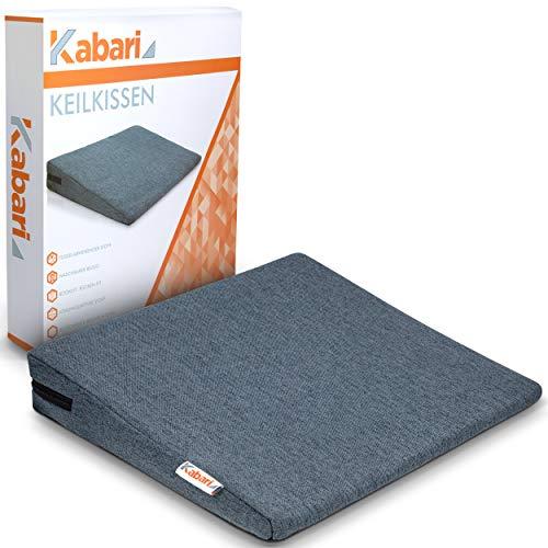 KABARI ® Keilkissen - Sitzkissen mit fusselabweisendem Bezug - Sitzkeil [90-120kg] - 100% Baumwollbezug - Waschbares und atmungsaktives Material (Grau)