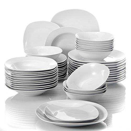 MALACASA, Serie Elisa, 48 TLG. Porzellan Tafelservice Kombiservice Geschirrset, 12 Dessertteller, 12 Suppenteller, 12 Flachteller und 12 MüsliSchäle für 12...