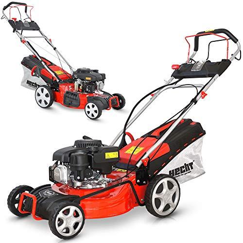 HECHT 5-IN-1 Benzin Rasenmäher – leistungsstarker 4 Takt Eco Motor - Mit Radantrieb – Elektrostart – 46 cm Schnittbreite – bis 1200m² – patentierte...