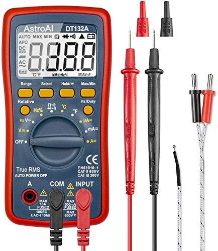 AstroAI Digital Multimeter, Voltmeter Ohmmeter Amperemeter Mit TRMS 4000 Counts, Manuell und Auto-Range, Misst Spannung, Strom, Widerstand, Durchgang, Frequenz,...